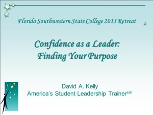 """Program slide from a campus leadership retreat featuring """"Condifence as A Leader"""""""